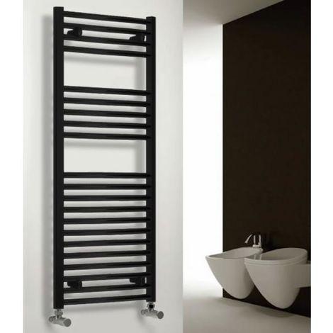 Reina Diva Steel Straight Black Heated Towel Rail 1200mm x 600mm Central Heating