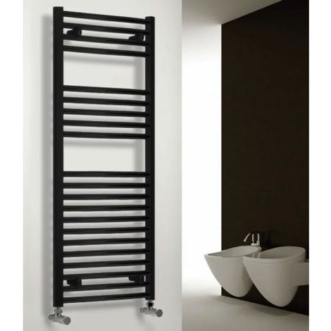 """main image of """"Reina Diva Steel Straight Black Heated Towel Rail 800mm x 500mm Electric Only - Thermostatic"""""""