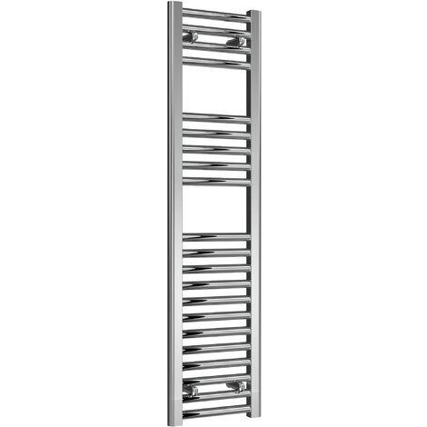 Reina Diva Steel Straight Chrome Heated Towel Rail 1200mm x 300mm Central Heating