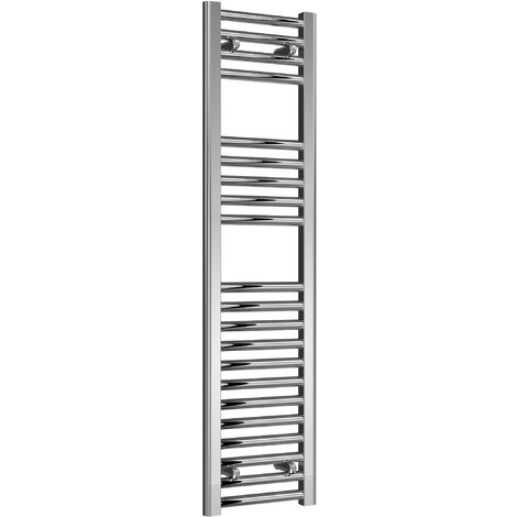 Reina Diva Steel Straight Chrome Heated Towel Rail 1200mm x 300mm Electric Only - Thermostatic
