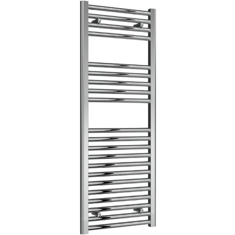 Reina Diva Steel Straight Chrome Heated Towel Rail 1200mm x 450mm Electric Only - Thermostatic