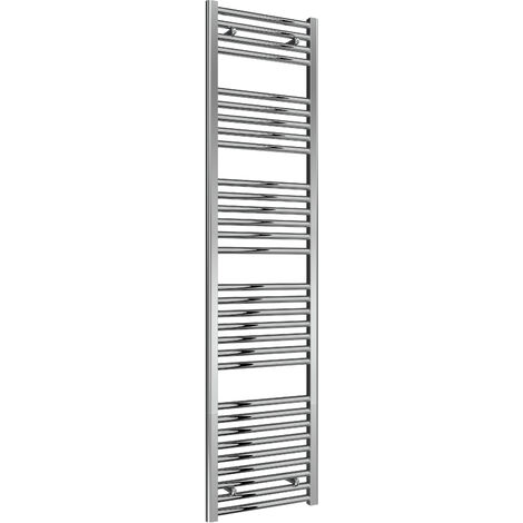 Reina Diva Steel Straight Chrome Heated Towel Rail 1800mm x 450mm Electric Only - Thermostatic