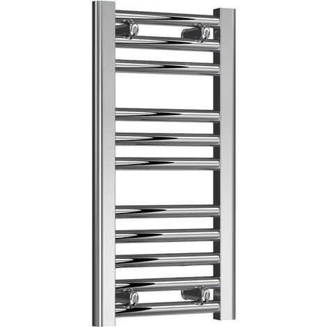 Reina Diva Steel Straight Chrome Heated Towel Rail 600mm x 300mm Electric Only - Thermostatic