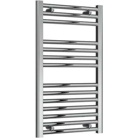Reina Diva Steel Straight Chrome Heated Towel Rail 800mm x 450mm Central Heating