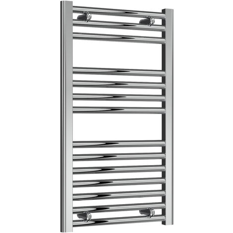 Reina Diva Steel Straight Chrome Heated Towel Rail 800mm x 450mm Electric Only - Thermostatic
