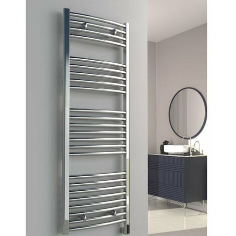 Reina Diva Thermostatic Electric Curved Heated Towel Rail 1200mm H x 450mm W Chrome