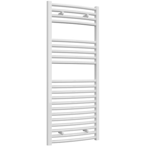 Reina Diva Thermostatic Electric Curved Heated Towel Rail 1200mm H x 500mm W White