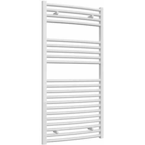 Reina Diva Thermostatic Electric Curved Heated Towel Rail 1200mm H x 600mm W White