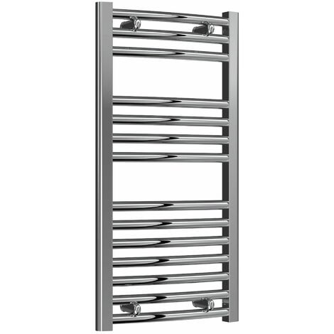Reina Diva Thermostatic Electric Curved Heated Towel Rail 800mm H x 400mm W Chrome
