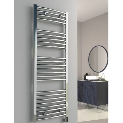 Reina Diva Thermostatic Electric Curved Heated Towel Rail 800mm H x 450mm W Chrome