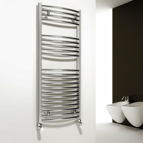 Reina Diva Thermostatic Electric Curved Heated Towel Rail 800mm H x 500mm W Chrome