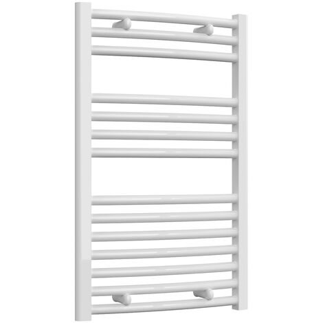 Reina Diva Thermostatic Electric Curved Heated Towel Rail 800mm H x 500mm W White