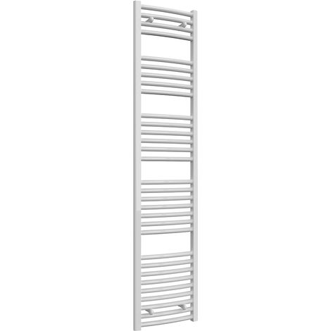 Reina Diva White Curved 25mm Ladder Heated Towel Rail 1800mm x 400mm Central Heating
