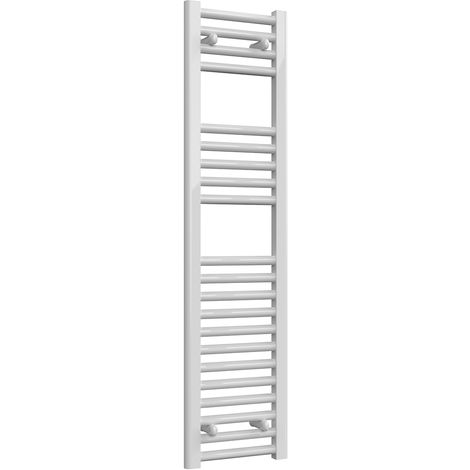 Reina Diva White Straight 25mm Ladder Heated Towel Rail 1200mm x 300mm Central Heating