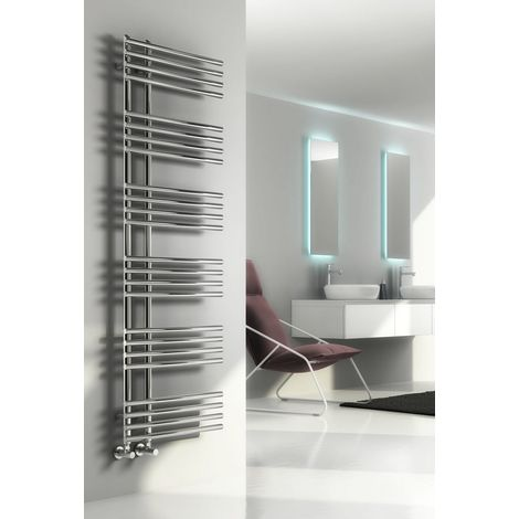Reina Elisa Steel Chrome Designer Heated Towel Rail 1000mm x 500mm Central Heating