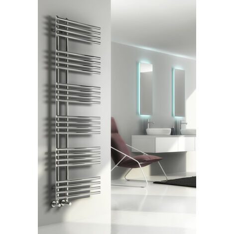 Reina Elisa Steel Modern Vertical Bathroom Towel Rail and Radiator - Chrome