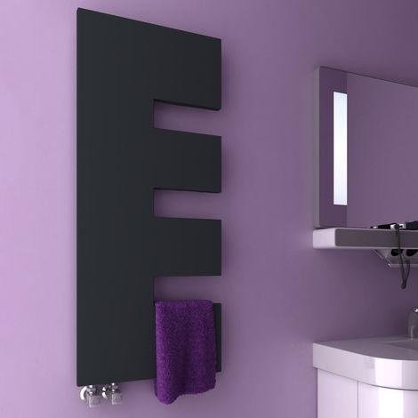 Reina Ella Anthracite Straight Designer Heated Towel Rail 1200mm x 500mm Central Heating