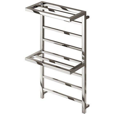 Reina Elvina 2 Chrome Straight Square Designer Heated Towel Rail 1000mm x 500mm Dual Fuel - Thermostatic