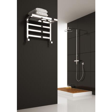Reina Elvina Steel Small Modern Vertical Bathroom Towel Rail and Radiator - Chrome