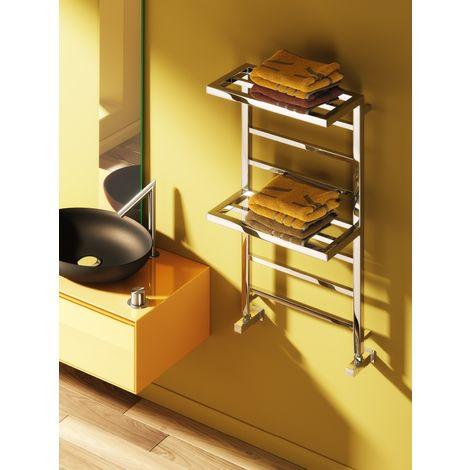 Reina Elvina2 Steel Chrome Designer Towel Radiator 1000mm x 500mm - Central Heating