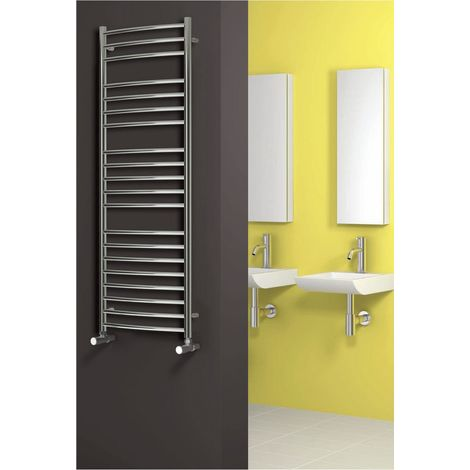 Reina Eos Polished Curved Stainless Steel Heated Towel Rail 430mm x 500mm Central Heating