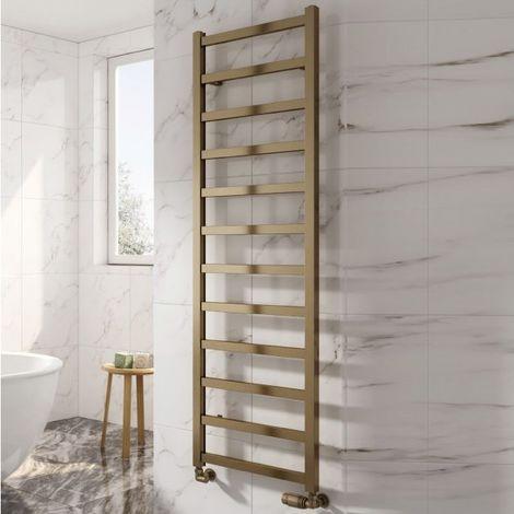 Reina Fano Aluminium Designer Heated Towel Rail 1240mm H x 485mm W Bronze Satin Central Heating