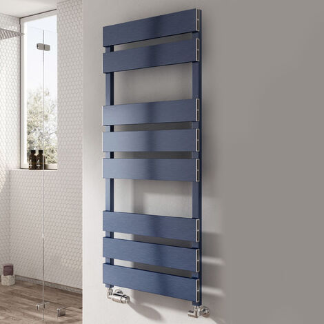 Reina Fermo Flat Panel Heated Towel Rail 1190mm H x 480mm W Blue Satin