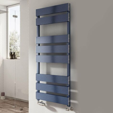 Reina Fermo Flat Panel Heated Towel Rail 710mm H x 480mm W Blue Satin