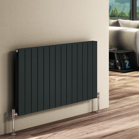 Reina Flat Anthracite Horizontal Designer Radiators 600mm x 440mm Single Panel Duel Fuel - Thermostatic