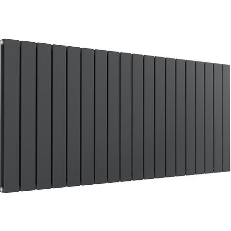 Reina Flat Steel Anthracite Double Panel Horizontal Designer Radiator 600mm x 1402mm - Dual Fuel - Standard
