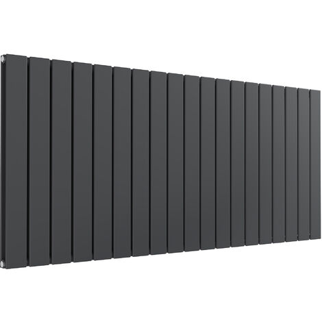 Reina Flat Steel Anthracite Double Panel Horizontal Designer Radiator 600mm x 1402mm - Dual Fuel - Thermostatic