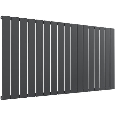 Reina Flat Steel Anthracite Horizontal Designer Radiator 600mm x 1254mm Single Panel Central Heating