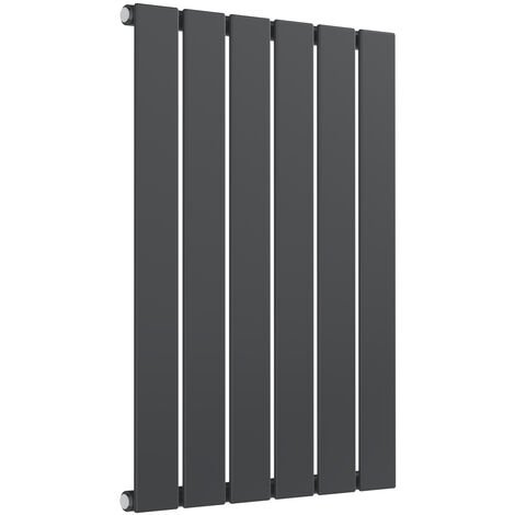 Reina Flat Steel Anthracite Horizontal Designer Radiator 600mm x 440mm Single Panel Central Heating
