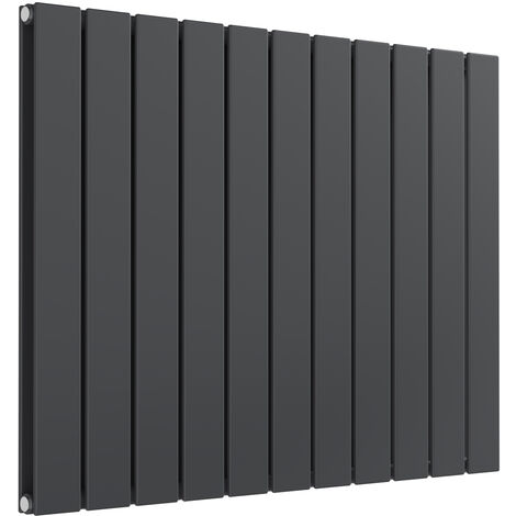Reina Flat Steel Anthracite Horizontal Designer Radiator 600mm x 810mm Double Panel Central Heating