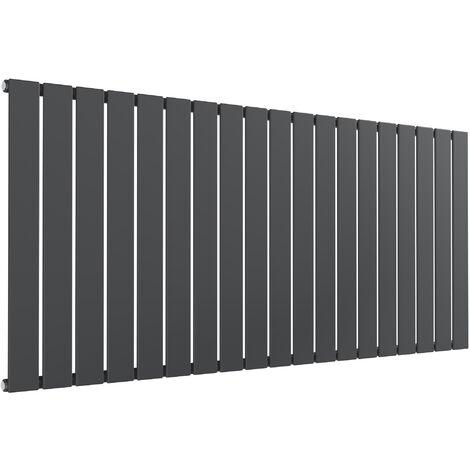 Reina Flat Steel Anthracite Single Panel Horizontal Designer Radiator 600mm x 1402mm - Dual Fuel - Standard