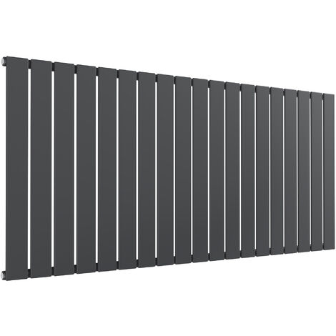 Reina Flat Steel Anthracite Single Panel Horizontal Designer Radiator 600mm x 1402mm - Dual Fuel - Thermostatic