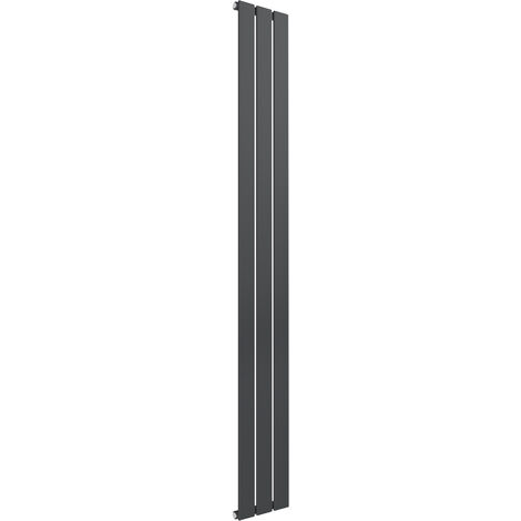 Reina Flat Steel Anthracite Vertical Designer Radiator 1600mm x 218mm Single Panel