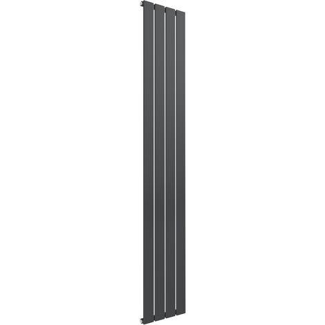 Reina Flat Steel Anthracite Vertical Designer Radiator 1600mm x 292mm Single Panel