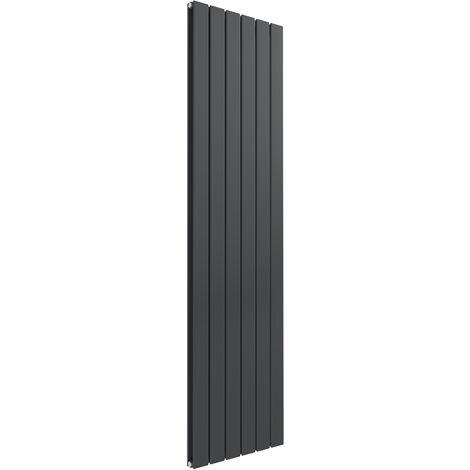 Reina Flat Steel Anthracite Vertical Designer Radiator 1600mm x 440mm Double Panel