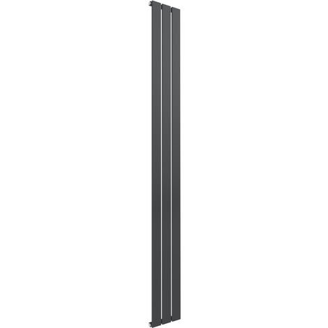 Reina Flat Steel Anthracite Vertical Designer Radiator 1800mm x 218mm Single Panel