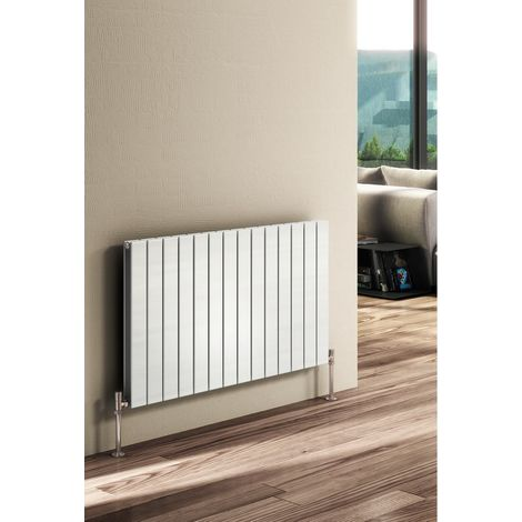 Reina Flat Steel White Horizontal Designer Radiator 600mm x 440mm Double Panel Electric Only - Thermostatic
