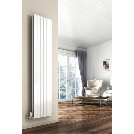 Reina Flat Steel White Vertical Designer Radiator 1800mm x 440mm Double Panel