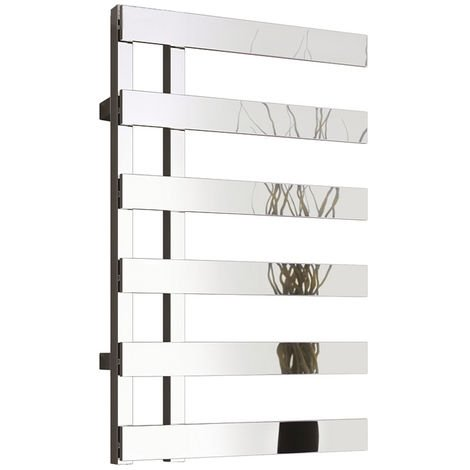 Reina Florina Reversible Chrome Straight Designer Heated Towel Rail 800mm x 500mm Dual Fuel - Non-Thermostatic