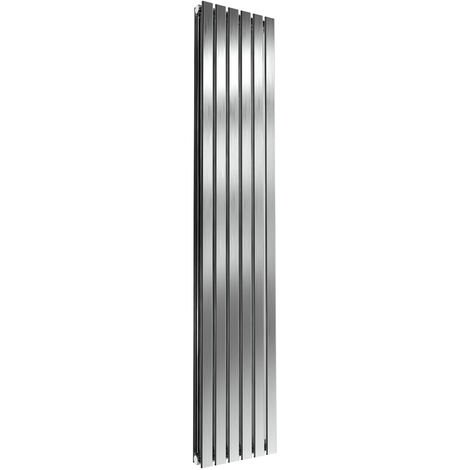 Reina Flox Double Vertical Radiator 1800mm H x 354mm W Brushed