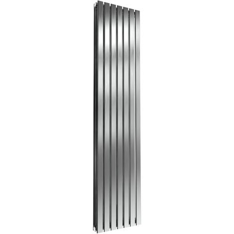 Reina Flox Double Vertical Radiator 1800mm H x 413mm W Brushed