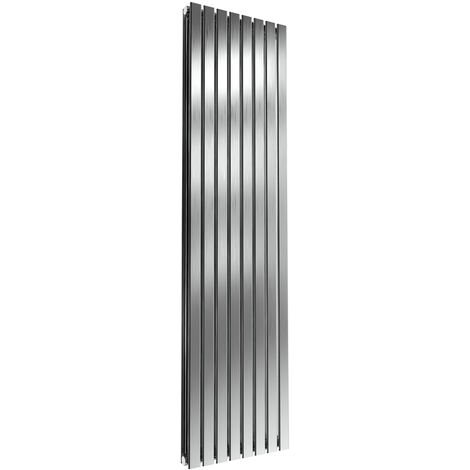 Reina Flox Double Vertical Radiator 1800mm H x 472mm W Brushed