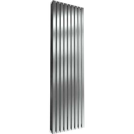 Reina Flox Double Vertical Radiator 1800mm H x 531mm W Brushed