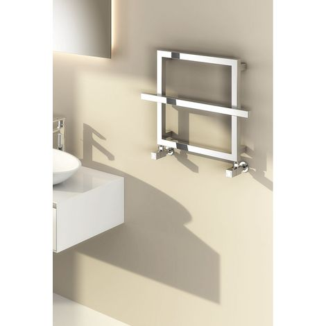 Reina Lago 1 Steel Chrome Designer Heated Towel Rail 450mm x 600mm Electric Only - Thermostatic