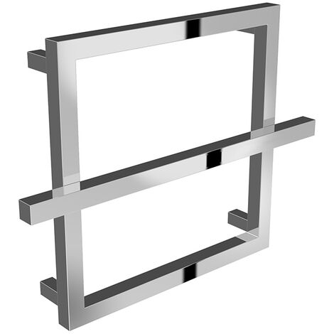 Reina Lago Chrome Straight Square Designer Heated Towel Rail 450mm x 600mm Electric Only - Thermostatic