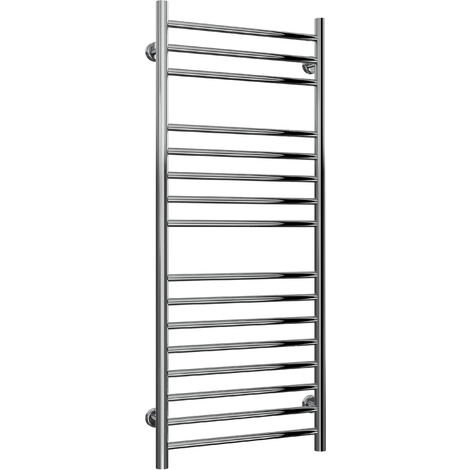 Reina Luna Flat Polished Straight Stainless Steel Heated Towel Rail 1200mm x 500mm Central Heating